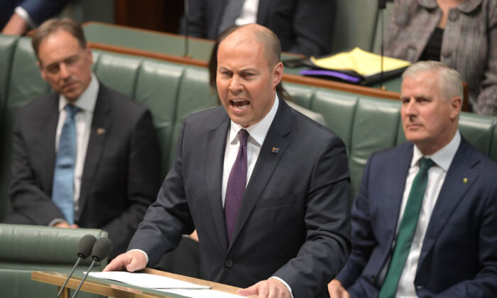 CANBERRA, AUSTRALIA - APRIL 02: Treasurer Josh Frydenberg delivers the budget in the House of Representatives on April 02, 2019 in Canberra, Australia.  (Photo by Tracey Nearmy/Getty Images)