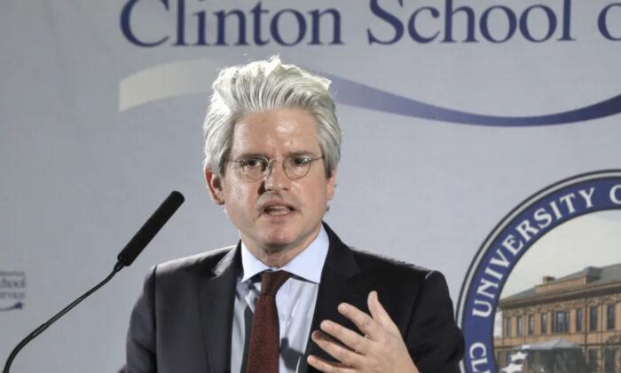 David Brock speaks at the Clinton School of Public Service in Little Rock, Ark., on March 25, 2014. (AP Photo/Danny Johnston)