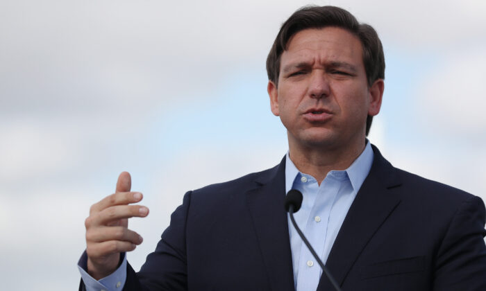 Florida Gov. Ron DeSantis speaks during a news conference in Miami Gardens on March 30, 2020. (Joe Raedle/Getty Images)