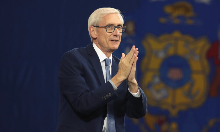 Tony Evers speaking at a rally in Milwaukee, Wisconsin, on Oct. 26, 2018. (Scott Olson/Getty Images)