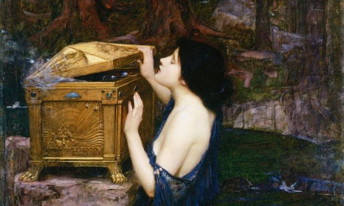 """Detail from """"Pandora,"""" 1898, by John William Waterhouse. Oil on Canvas; 35.9 inches by 59.8 inches. Private Collection. (Public Domain)"""