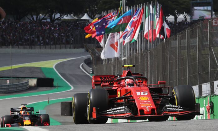 Ferrari's Monaco driver Charles Leclerc competes in the qualifying session of the Formula One Brazilian Grand Prix, at the Interlagos racetrack in Sao Paulo, Brazil, on Nov. 16, 2019. (Amanda Perobelli/POOL/AFP via Getty Images)