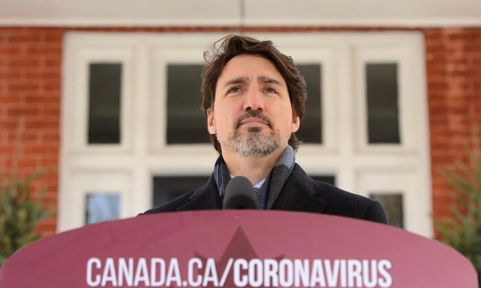 Prime Minister Justin Trudeau addresses Canadians on the COVID-19 pandemic from Rideau Cottage in Ottawa on April 16, 2020. (Sean Kilpatrick/The Canadian Press)