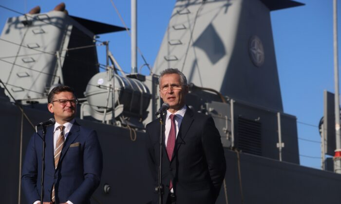 Ukraine's Foreign Minister and then Vice Prime Minister for European and Euro-Atlantic Integration Dmytro Kuleba (L) hosts NATO Secretary General Jens Stoltenberg (R) on his visit to NATO ships in the Ukrainian Black Sea port of Odessa on October 30, 2019. (Oleksandr Gimanov//AFP via Getty Images)