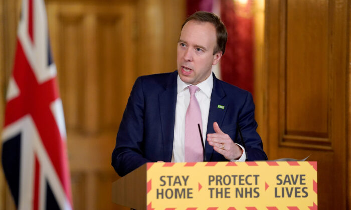 Britain's Health Secretary Matt Hancock speaks during the daily COVID-19 digital news conference in London, on April 15, 2020. (Andrew Parsons/No 10 Downing Street/Handout via Reuters)