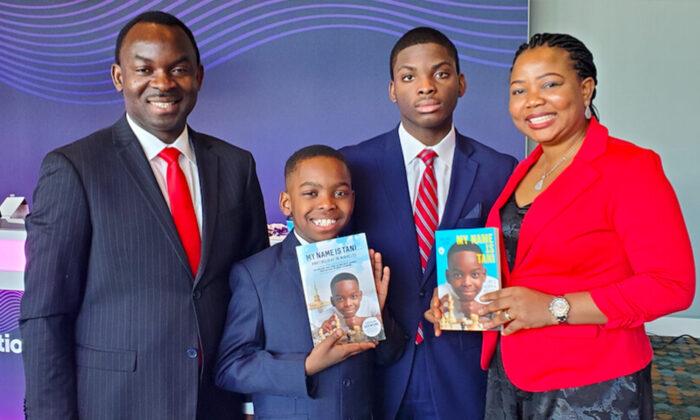 The Adewumi family: (L-R) Kayode, Tani, Austin, and Oluwatoyin. (Courtesy of HarperCollins)