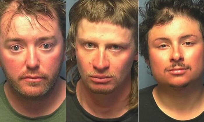 Travis Pettit, 34, Ryan Albert, 25, and Joseph Thompson, 28, were arrested for violating Colorado's stay-at-home order. (Steamboat Springs Police Department)