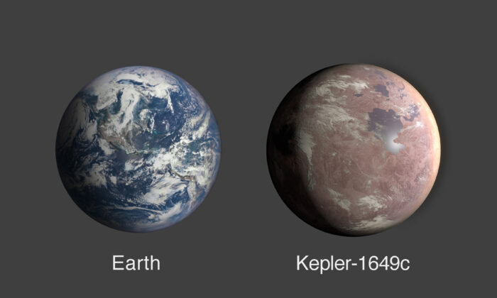 A comparison of Earth and Kepler-1649c, an exoplanet only 1.06 times Earth's radius. (NASA/Ames Research Center/Daniel Rutter)