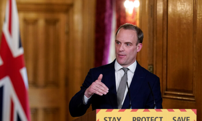 Britain's Foreign Secretary Dominic Raab speaks at the daily coronavirus news conference at 10 Downing Street in London, Britain April 16, 2020. (Andrew Parsons/10 Downing Street/Handout via REUTERS)