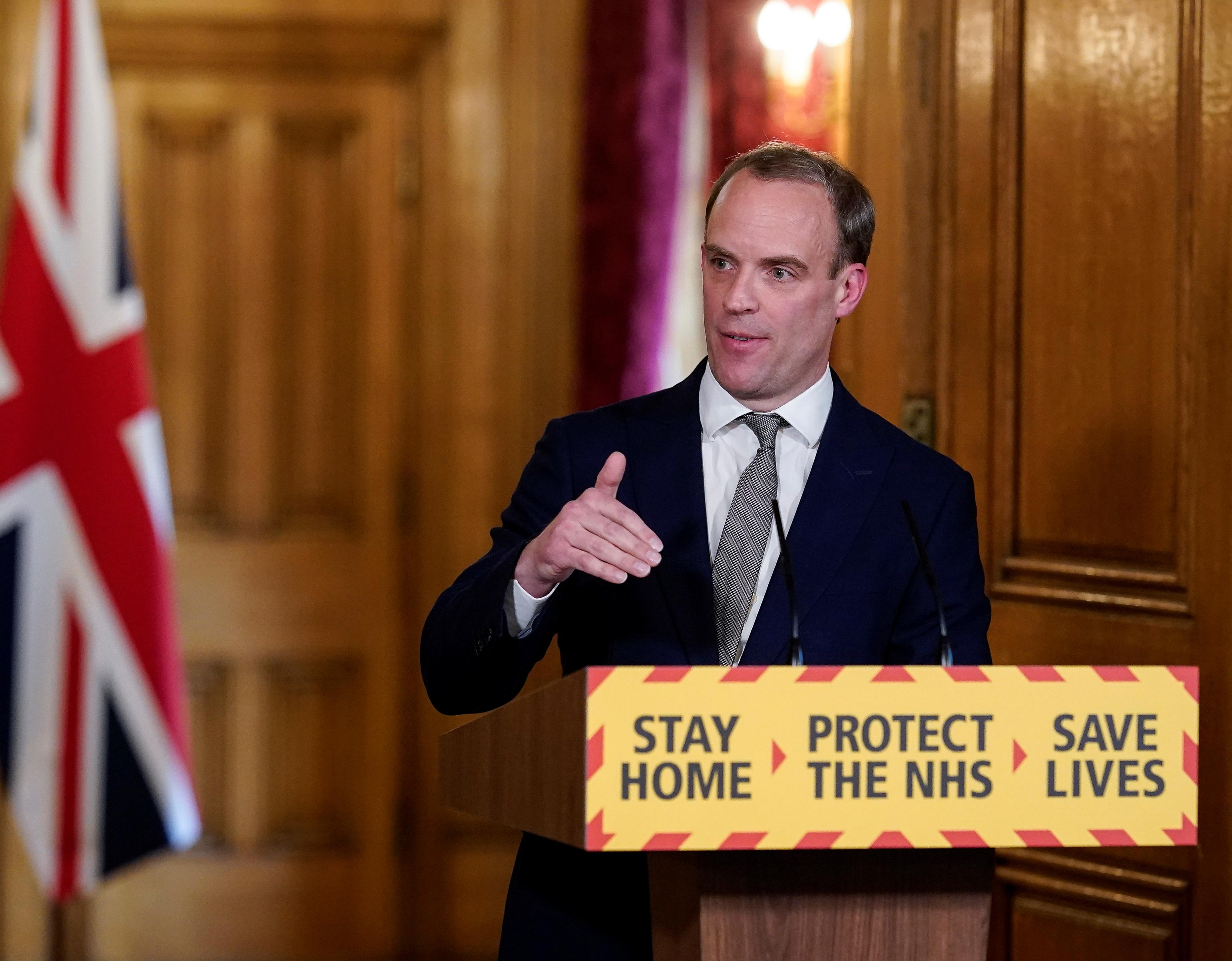 British Foreign Secretary Raab holds digital COVID-19 presser in London