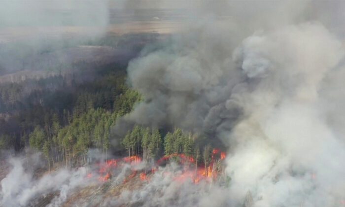 FILE PHOTO: An aerial view shows a forest fire in the 30 km (19 mile) exclusion zone around the Chernobyl nuclear power plant in this still picture taken from video in Ukraine on April 12, 2020. Video taken April 12, 2020. (Reuters TV)