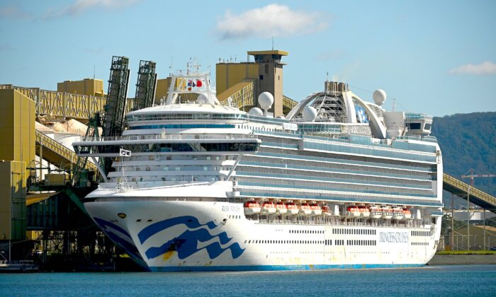 Cruise liner Ruby Princess sits in the harbour in Port Kembla on April 6, 2020. (Peter Parks/AFP via Getty Images)