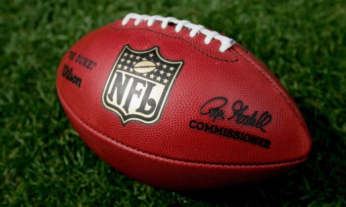 A close up of the official NFL 'The Duke' game ball complete with commissioner Roger Goodell's signature at Invesco Field at Mile High in Denver, Col., on Sept. 16, 2007. (Doug Pensinger/Getty Images)