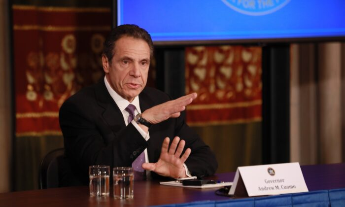 New York Governor Andrew Cuomo speaks at his daily CCP virus briefing in Albany, N.Y., on April 17, 2020. (Matthew Cavanaugh/Getty Images)