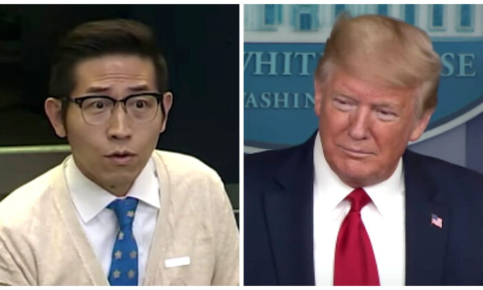 Reporter Chang Ching-yi (L) and President Donald Trump at a CCP virus press briefing at the White House on April 8, 2020. (Screenshot via White House)