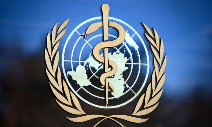 The Logo of the World Health Organization (WHO) at their headquarters in Geneva, Switzerland, on Feb. 24, 2020. (Fabrice Coffrini/AFP via Getty Images)