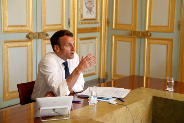 French President Emmanuel Macron, attends a video conference call