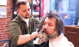 Barber Gives Homeless Man His First Haircut in Years, Looks Totally Unrecognizable