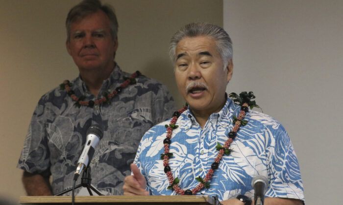 Hawaii Gov. David Ige speaks to reporters at the state Department of Health's laboratory in Pearl City, Hawaii, on March 3, 2020. (Audrey McAvoy/AP Photo)