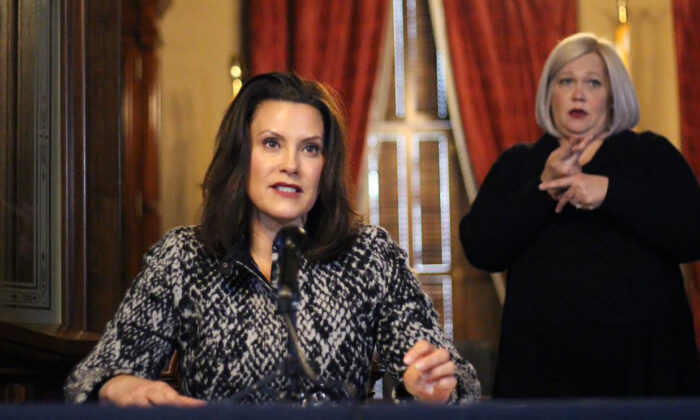 Michigan Gov. Gretchen Whitmer addresses the state during a speech in Lansing, Michigan, on April 13, 2020. (Michigan Office of the Governor via AP)