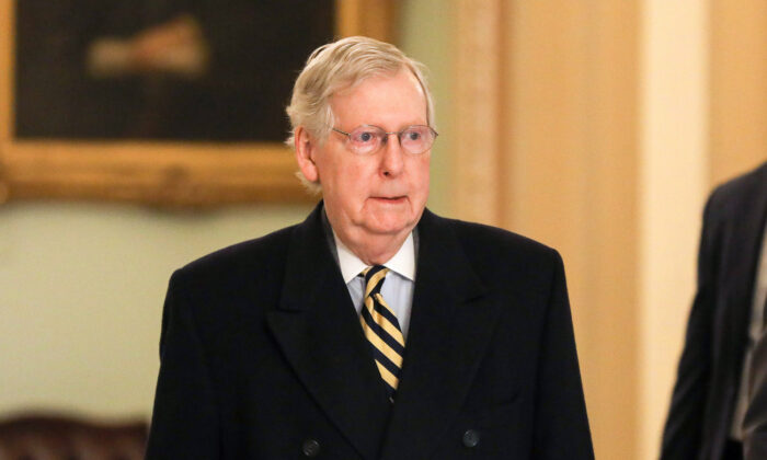 Senate Majority Leader Mitch McConnell (R-Ky.) arrives at the Capitol in Washington on Jan. 27, 2020. (Charlotte Cuthbertson/The Epoch Times)