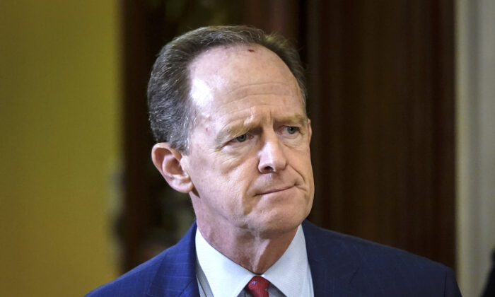 Sen. Pat Toomey (R-Pa.) leaves the Senate chamber at the U.S. Capitol in Washington,  on Jan. 30, 2020. (Drew Angerer/Getty Images)