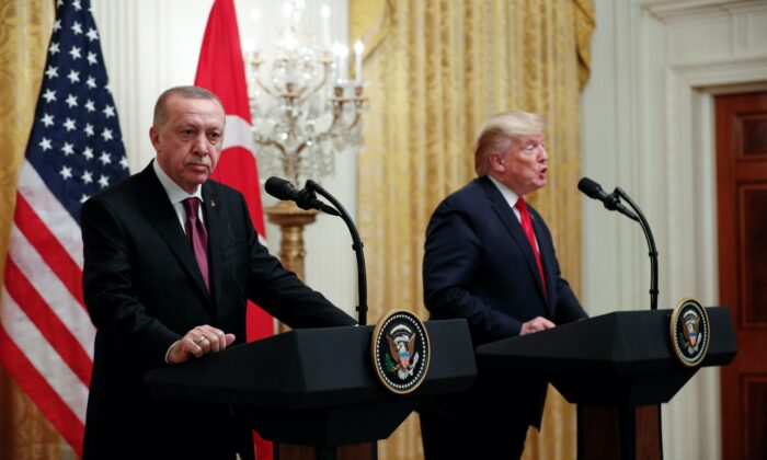 President Donald Trump and Turkey's President Tayyip Erdogan hold a during a joint news conference at the White House on Nov. 13, 2019. REUTERS/Tom Brenner