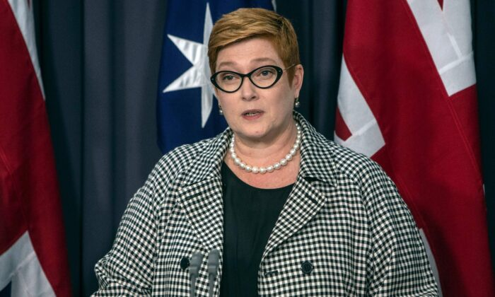Australian Foreign Minister Marise Payne, Canberra, Australia on Feb. 6, 2020. (Andrew Taylor/AFP via Getty Images)