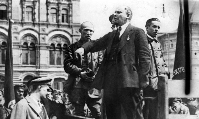 Russian communist revolutionary leader Vladimir Lenin (1870-1924) gives a speech from the back of a vehicle in Moscow in an undated photo. (Hulton Archive/Getty Images)