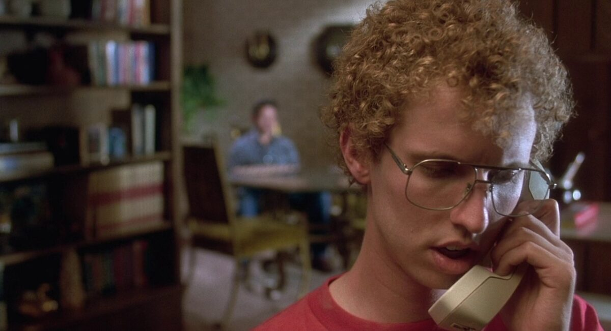 "Curly-haired boy on phone in ""Napoleon Dynamite"""