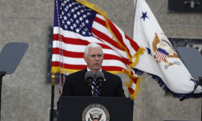 Vice President Mike Pence speaks during the graduation ceremony for the Class of 2020 at the U.S. Air Force Academy, Colo., on April 18, 2020. (David Zalubowski/AP Photo)