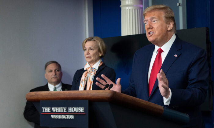 President Donald Trump speaks during a CCP Virus Task Force press briefing at the White House in Washington on April 18, 2020. (JIM WATSON/AFP via Getty Images)