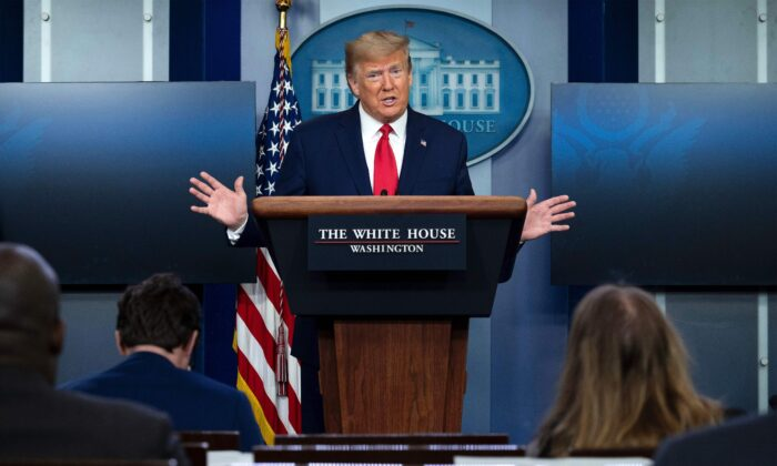 President Donald Trump speaks during a Coronavirus Task Force press briefing at the White House in Washington, on April 18, 2020. (Jim Watson/AFP via Getty Images)