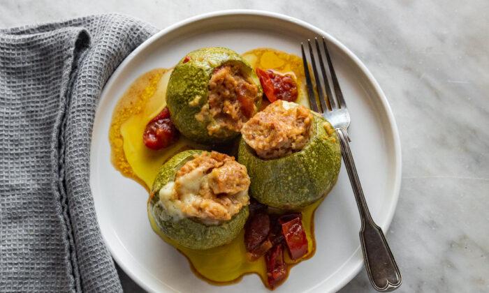 Round zucchini stuffed with canned tuna, breadcrumbs, and cheese. (Giulia Scarpaleggia)