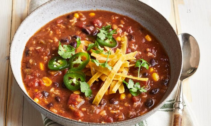 Vegetarian tortilla soup. (Courtesy of From Freezer to Cooker)