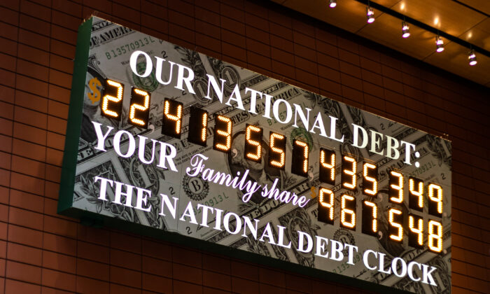 The National Debt Clock on 43rd Street in midtown Manhattan, New York, on Feb. 11, 2020. (Chung I Ho/The Epoch Times)