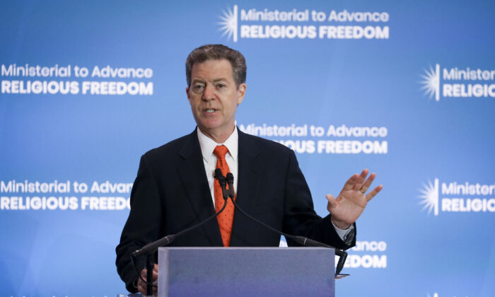 Sam Brownback, United States Ambassador-at-Large for International Religious Freedom, at the Ministerial to Advance Religious Freedom at the Department of State in Washington on July 16, 2019. (Samira Bouaou/The Epoch Times)