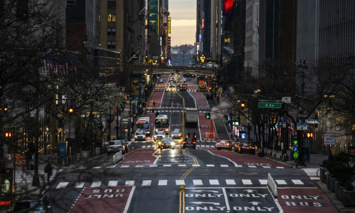 Light Traffic is seen along 42nd street in New York City on March 27, 2020. (Eduardo Munoz Alvarez/Getty Images)