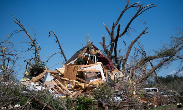 A home destroyed by a tornado is shown near Nixville, S.C. on April 13, 2020. (Sean Rayford/Getty Images)