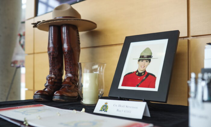 A display dedicated to Constable Heidi Stevenson at RCMP headquarters in Dartmouth, Nova Scotia, on April 20, 2020.  (The Canadian Press/Riley Smith)