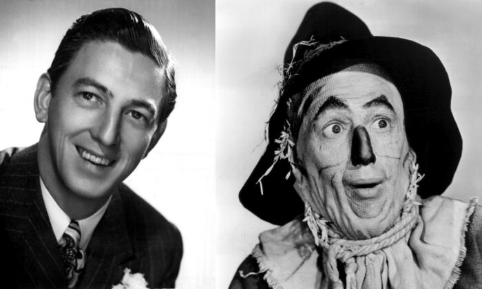 "Ray Bolger in 1942 (L), and in 1939 as the Scarecrow in ""The Wizard of Oz."" (Public Domain)"