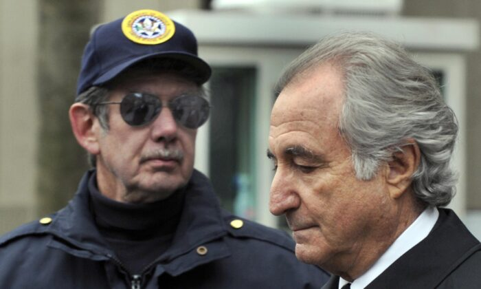 Former Wall Street financier Bernard Madoff leaves U.S. Federal Court in New York after a hearing on March 10, 2009. (Timothy A. Clary/AFP/Getty Images)