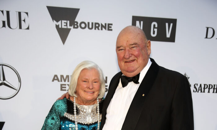 Lindsay Fox and his wife Paula Peele at the National Gallery of Victoria, in Melbourne, Australia on December 1, 2018. (Ryan Pierse/Getty Images)