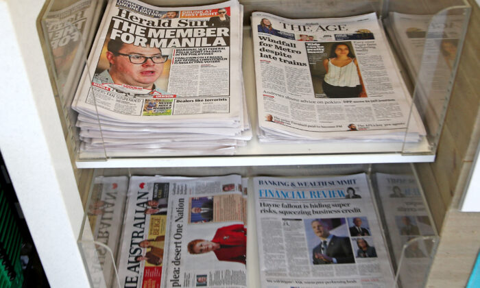 Fairfax Media and the Herald and Weekly Times newspapers are seen on display at Australian newsagents on March 27, 2019. (Scott Barbour/Getty Images)