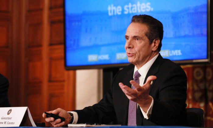 New York Governor Andrew Cuomo gives his a press briefing about the coronavirus crisis in Albany, N.Y., on April 17, 2020. (Matthew Cavanaugh/Getty Images)