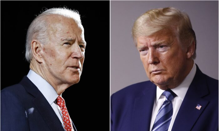 (L) Former Vice President Joe Biden speaks in Wilmington, Del., on March 12, 2020, and President Donald Trump speaks at the White House on April 5, 2020. (AP Photo, File)
