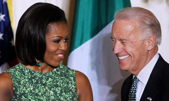 First Lady Michelle Obama and Vice President Joe Biden attend a St. Patrick's Day reception in the East Room of the White House in Washington on March 17, 2011. (Olivier Douliery-Pool/Getty Images)