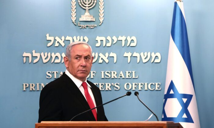 Israeli Prime Minister Benjamin Netanyahu delivers an speech at his Jerusalem office on March 14, 2020, (Gali Tibbon/AFP via Getty Images)