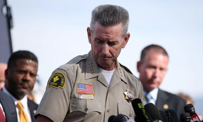 San Bernardino County Sheriff John McMahon pauses as he speaks during a news conference near the Inland Regional Center in San Bernardino, California, on Dec. 3, 2015. (Justin Sullivan/Getty Images)