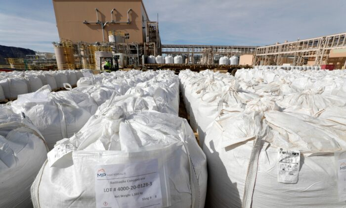 A shipping area is filled with 1,500 kg bags of bastnasite concentrate at the MP Materials rare earth mine in Mountain Pass, Calif., on Jan. 30, 2020. (Steve Marcus/Reuters)